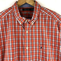Nautica Mens Long Sleeve Orange Plaid Button Down Woven Shirt Size XL New $69