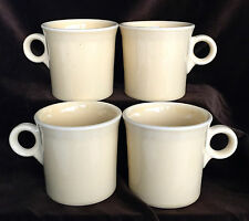 4 Fiesta Ware Ivory Yellow Tom & Jerry Coffee Cups Ring Handle Mug Set