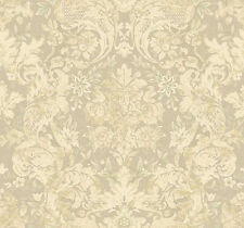 York Wallcoverings Italian Floral Damask Cream Taupe Tan Cottage Chic Wallpaper