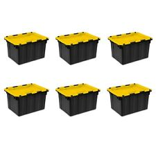 6 Storage Bins Stack Containers 12 Gal Totes Plastic Heavy Duty Hinged Lid Boxes
