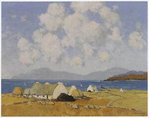 Sunny Day, Connemara, Paul Henry print, 10 x 12 inch mount ready to frame SUPERB