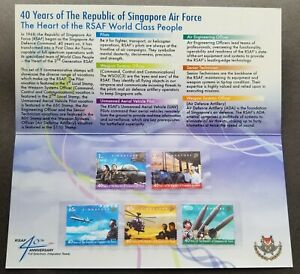[SJ] Singapore 40th Anniv Air Force 2008 Aircraft Airplane Helicopter p.pack MNH