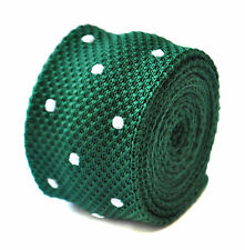 Frederick Thomas skinny knitted dark green and white polka spot tie FT1889