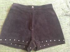 Brown Suede Vintage Studded Boho Shorts, Festival Vibes,high Waisted