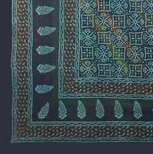 Handmade 100% Cotton Dabu Hand Block Print Tapestry Tablecloth Spread Green Twin
