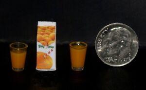 CARTON OF OJ AND GLASSES Dollhouse Miniature Food 1:12 Scale