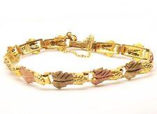 """Vtg 10k Black Hills Gold Link Bracelet Grape 12K Leaf Vine Estate Ornate 6.5"""""""