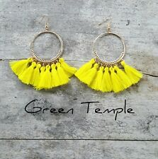 SUMMER LEMON YELLOW LIGHT TRIBAL GOLD BOHO HOOP FRINGE TASSLE TASSEL EARRINGS