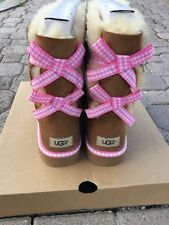 Ugg Bailey Bow Gingham Chestnut Size 11 100% Authentic