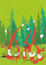 Kunstkarte: Majewska - Fröhliche Weihnachtsmänner