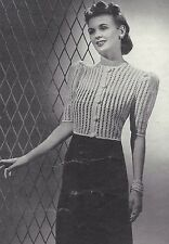 Vintage Crochet PATTERN to make 40s Lacy Evening Cardigan Sweater Jacket