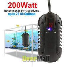 200W for 25-60gal Fish Tank Mini Auto Aquarium LED Heater Adjustable Thermostat