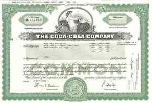 The Coca-Cola Company > original collectible Coke stock certificate