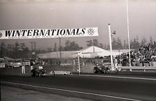 NHRA Winternationals Starting Line Scene - Vintage B&W 35mm Race Negative