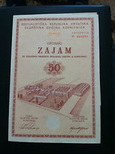 EXTRA RARRE-YUGOSLAVIA- CROATIA- bond- 50 DINARA 1971 -Municipal loan !!!