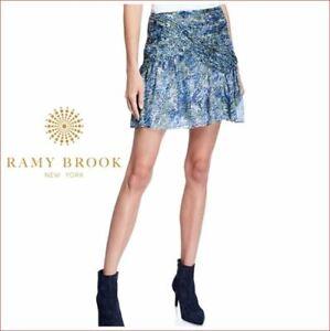 new RAMY BROOK women Shari skirt A1218604 100% silk blue NVCB sz 2 $365