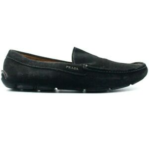 Prada Men's Elegant Loafers Drivers Shoes Solid Black Suede Moccasins Size 10