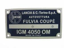 Targhetta identificativa dati Lancia Fulvia Coupé 1200