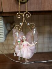 Holiday Christmas Fairy on a Swing Ornament Beaded
