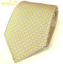 SALVATORE FERRAGAMO yellow FROG PRINCE in pink Crown silk MENS tie NWT Authentic