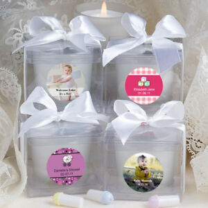 20-96 Personalized White Frosted Votive Candles - Religious Christening Favors