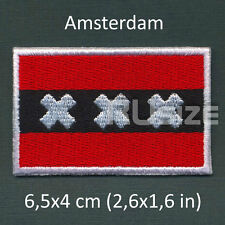 AMSTERDAM City Flag Embroidered PATCH 6,5х4cm For sewn/ironed on Badge Chevron