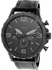 Fossil Men's Nate JR1354 Black Leather Analog Quartz Fashion Watch