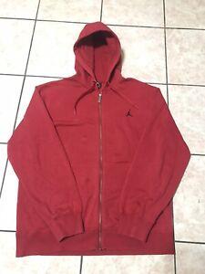 Air Jordan Hoodie Full Zipper Red Sweatshirt Size L Mens