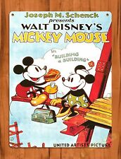 TIN SIGN Walt Disney Mickey Mouse Building A Building Cartoon Movie Art Poster