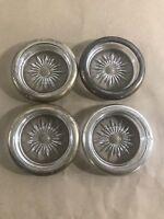"✨G24 Set of 4 Vintage Art Deco Silver Plate & Starburst Glass Coasters 3.5"" diam"