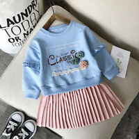 2pcs Toddler Kid Baby Girl Outfit Clothes Hoodie Coat Shirt Tops+Skirt Dress Set