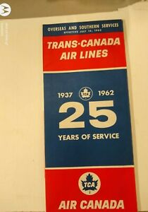 1962 Trans-Canada Airlines Overseas And Southern Services Time Table Air Canada