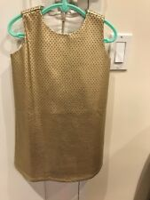 NWOT Girl's EGG By Susan Lazar Gold Faux Leather Dress With Hearts, Size 5