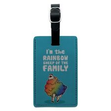 Rainbow Sheep of the Family Gay Pride Rectangle Leather Luggage Card ID Tag