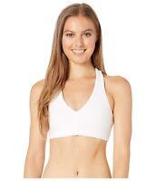 ALO 188839 Womens Alosoft Base Racerback Sport Bra Solid White Size Medium