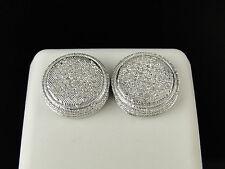 Mens Ladies White Gold Finish Round Real Genuine White diamond Earrings 15mm