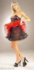 "Petticoat Black women's fancy dress costume 18"" 43 cm long burlesque fits 10-18"