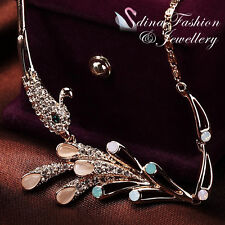 18K Rose Gold Plated Simulated Opal & Diamond Elegant Green Peacock Necklace