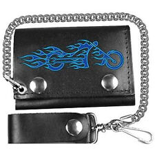 FIRE BIKE TRI-FOLD LEATHER WALLET WITH CHAIN