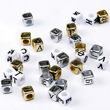200PCS Mixed Acrylic Russian Alphabet / Letter Beads Pony Cube For Jewelry DIY