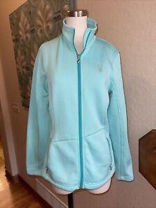 Spyder Core Light Teal Full Zip Sweater Womens Size Large L