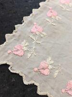 Antique Silk Handkerchief 1920s Floral Design Embroidered Scalloped Edge Cream