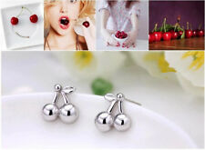 Shiny 925 Sterling Silver Plated Cute Small Cherry Fruit Stud Earrings Gift UK