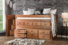 NEW AMERICANA PINE TWIN LOFT CAPTAIN BED BUILT-IN DRESSER & STEP DRAWERS STORAGE
