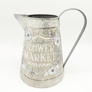 Milchkanne Blechkanne Kanne Vase Flower Market Clayre & Eef Shabby Metall