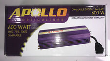 Apollo Horticulture 600 Watt MH HPS Digital Grow Light Ballast Dimmable APL600