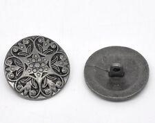 F1: 20 Antik Silber Metall Gravur Muster Knopf/ Knöpfe Ösenknöpfe Nähen 25mm
