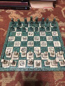 Vintage Aztec Mayan Chess Set 10x10 Missing White Bishop Crack Bottom Board