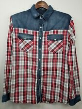 21 Men Fitted  Men's Pearl Snap  Button Up Plaid Shirt Long sleeve XL