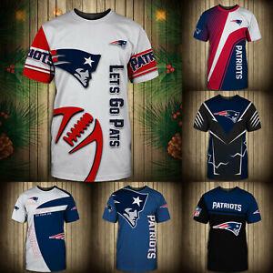 New England Patriots Men T-shirt Summer Casual Short Sleeve Tee Top Shirts S-5XL